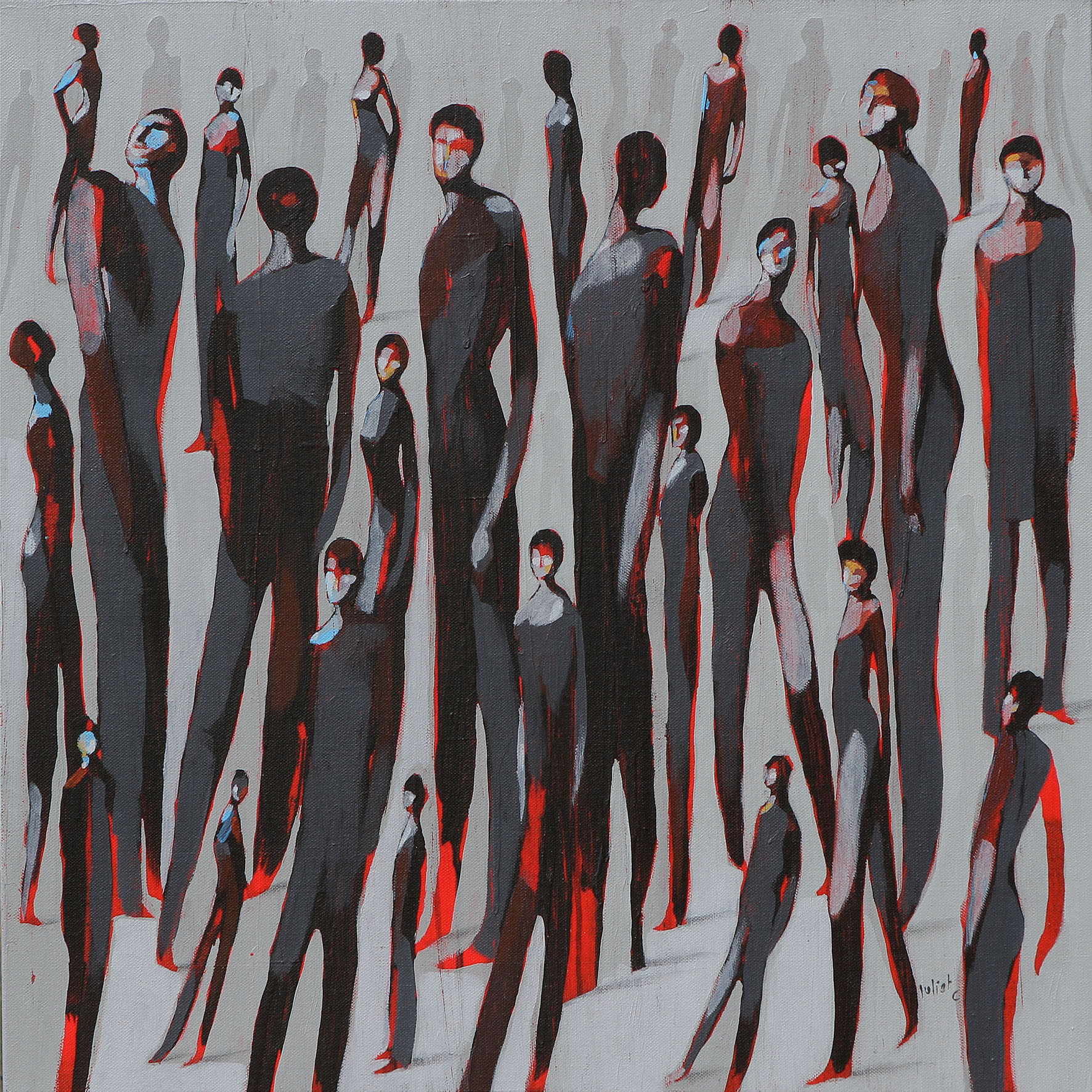LES PASSAGERS DU SOIR acrylique sur toile 60x60 cm