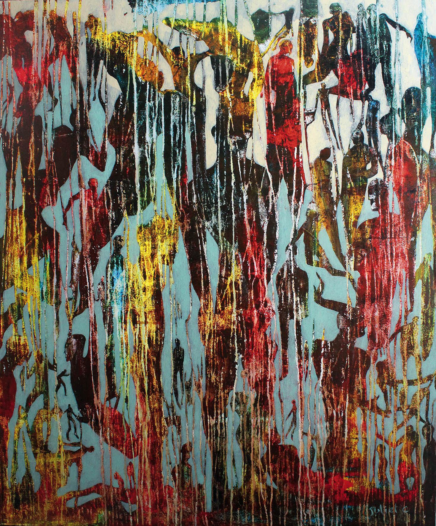 LES CORPS SOLUBLES acrylique sur toile 120x100 cm