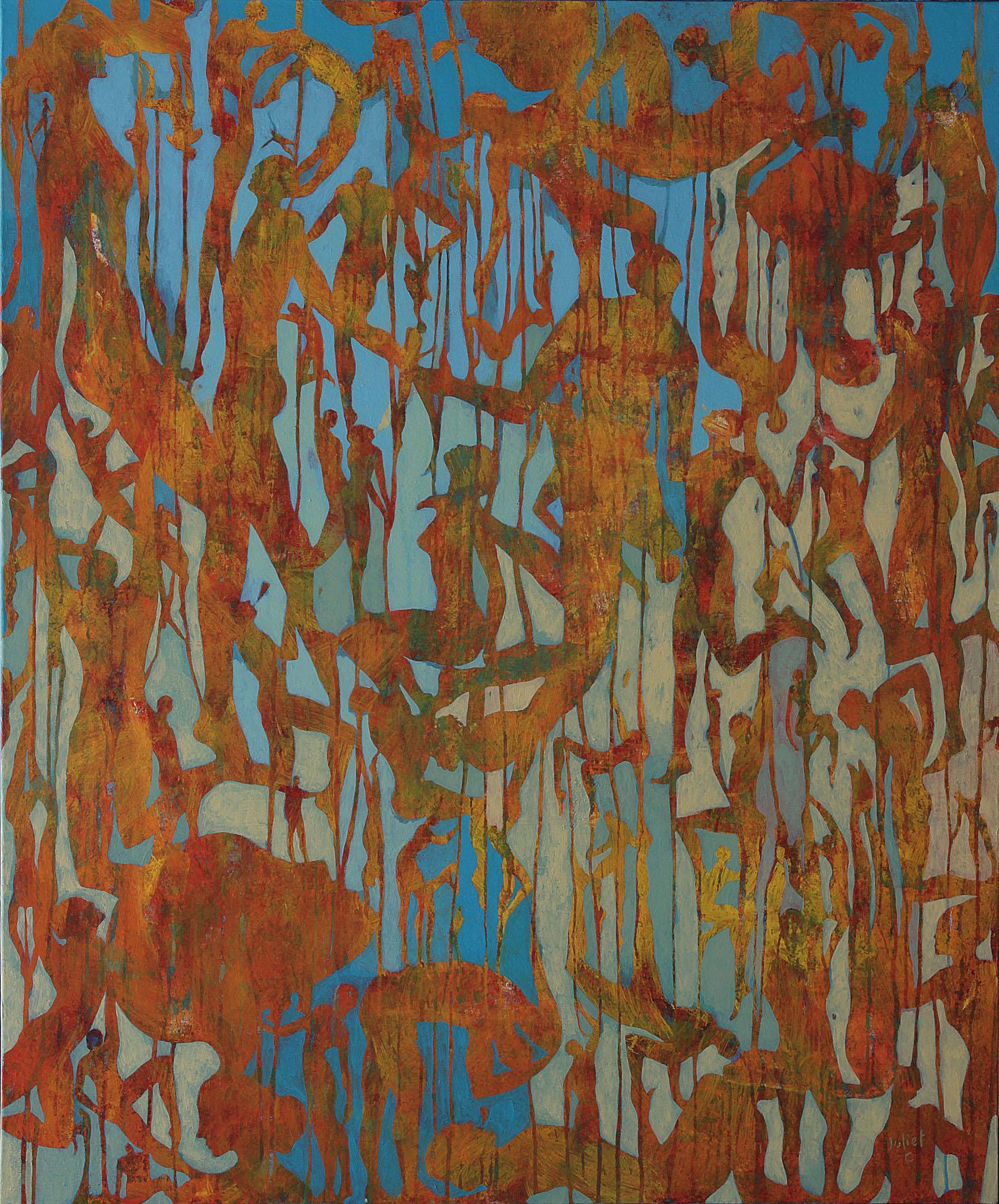 LES TOURNE SOLS acrylique sur toile 120x100 cm