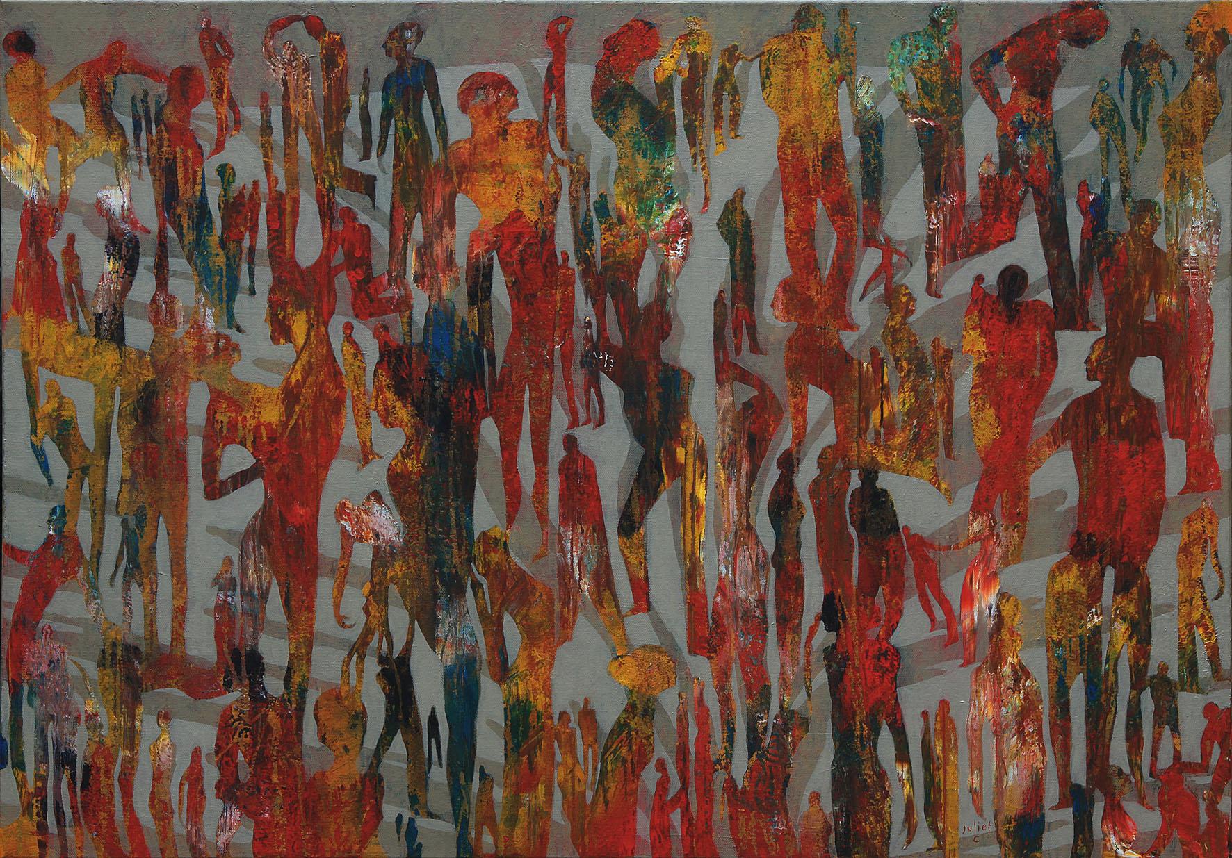 UN JOUR ENTIER PLACE D'OCTOBRE acrylique sur toile 70x100 cm