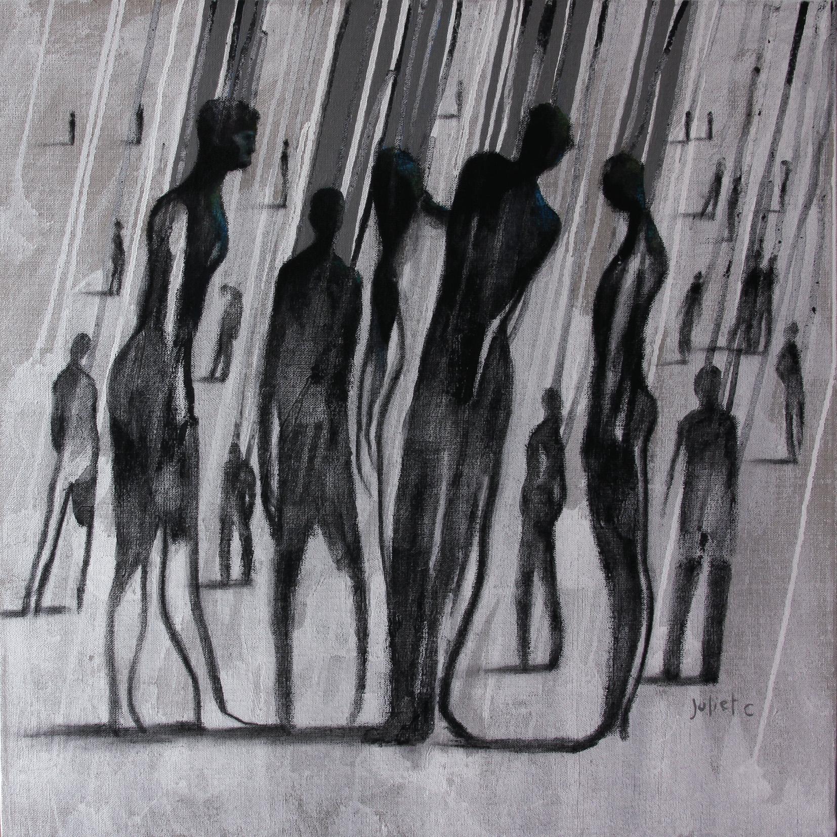 ANONYMES /  Peinture et crayon noir sur toile 50x50 cm