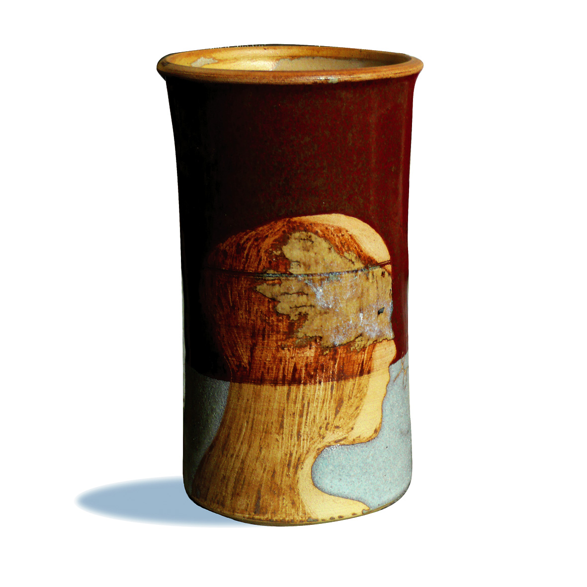 BRIQUE BOUTEILLE / Pièce en grés gravé émaillé - H 30 cm