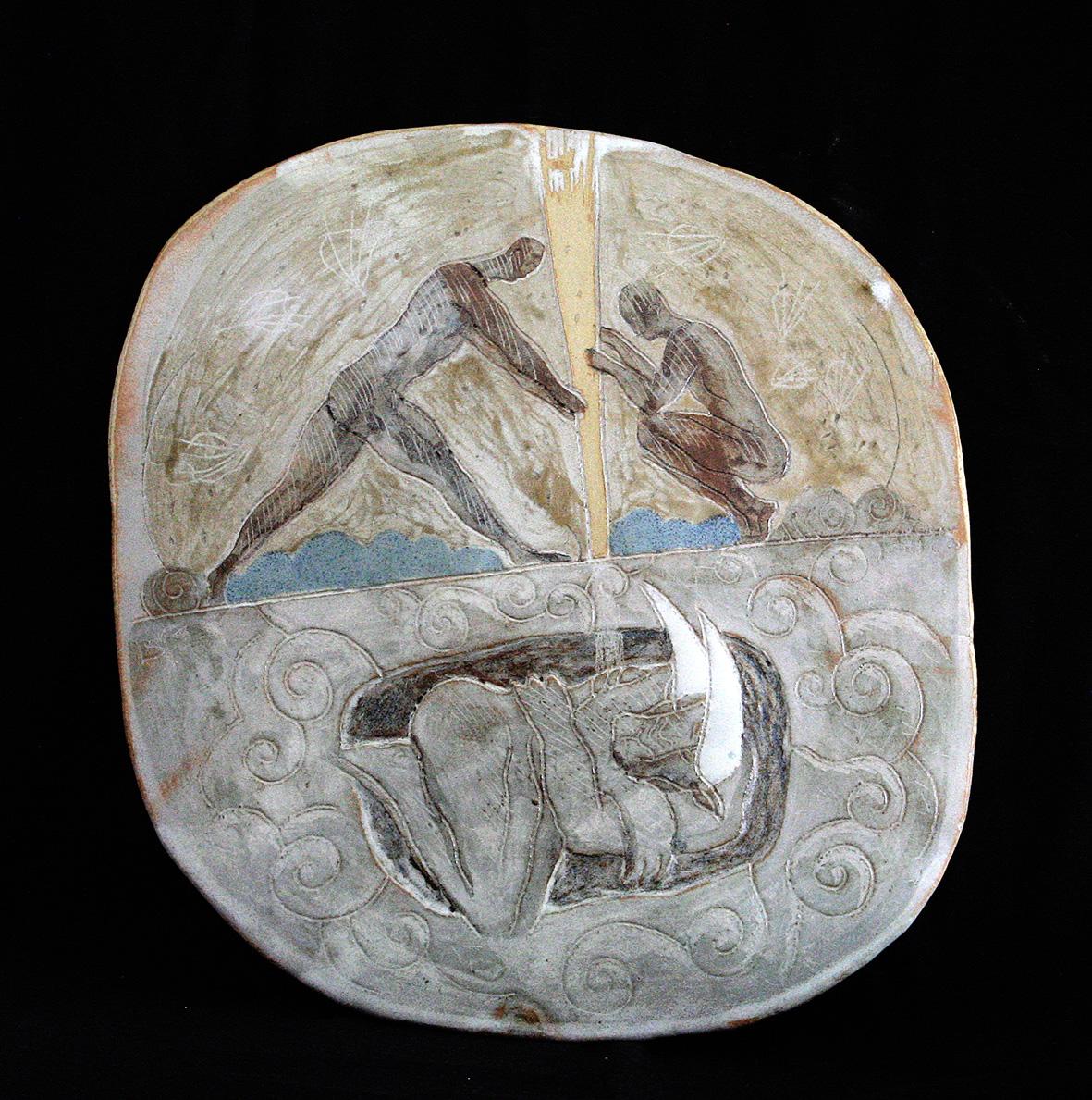 CARAPACE /  Pièce en grés gravé émaillé -  Diam : env. 50 cm