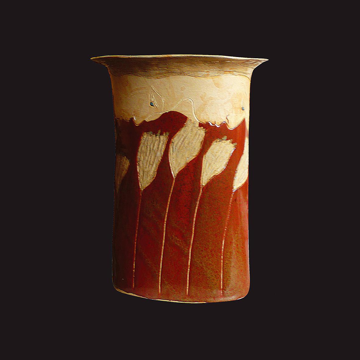 GRAND VASE DROIT /  Pièce en grés gravé émaillé -  Haut : env. 40 cm - Larg : env. 30 cm