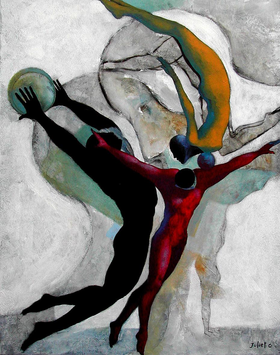 LES ACROBATES /  Peinture sur toile 100x80 cm