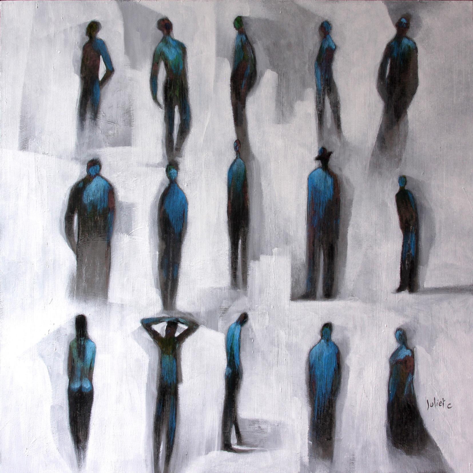 LES ANGES ATTENDENT acrylique sur toile 80x80 cm