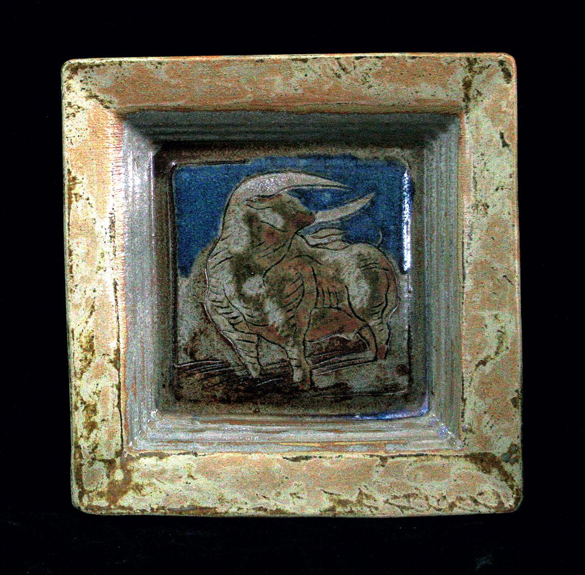 PLAT CARRÉ /  Pièce en grés gravé émaillé -  25x25 cm