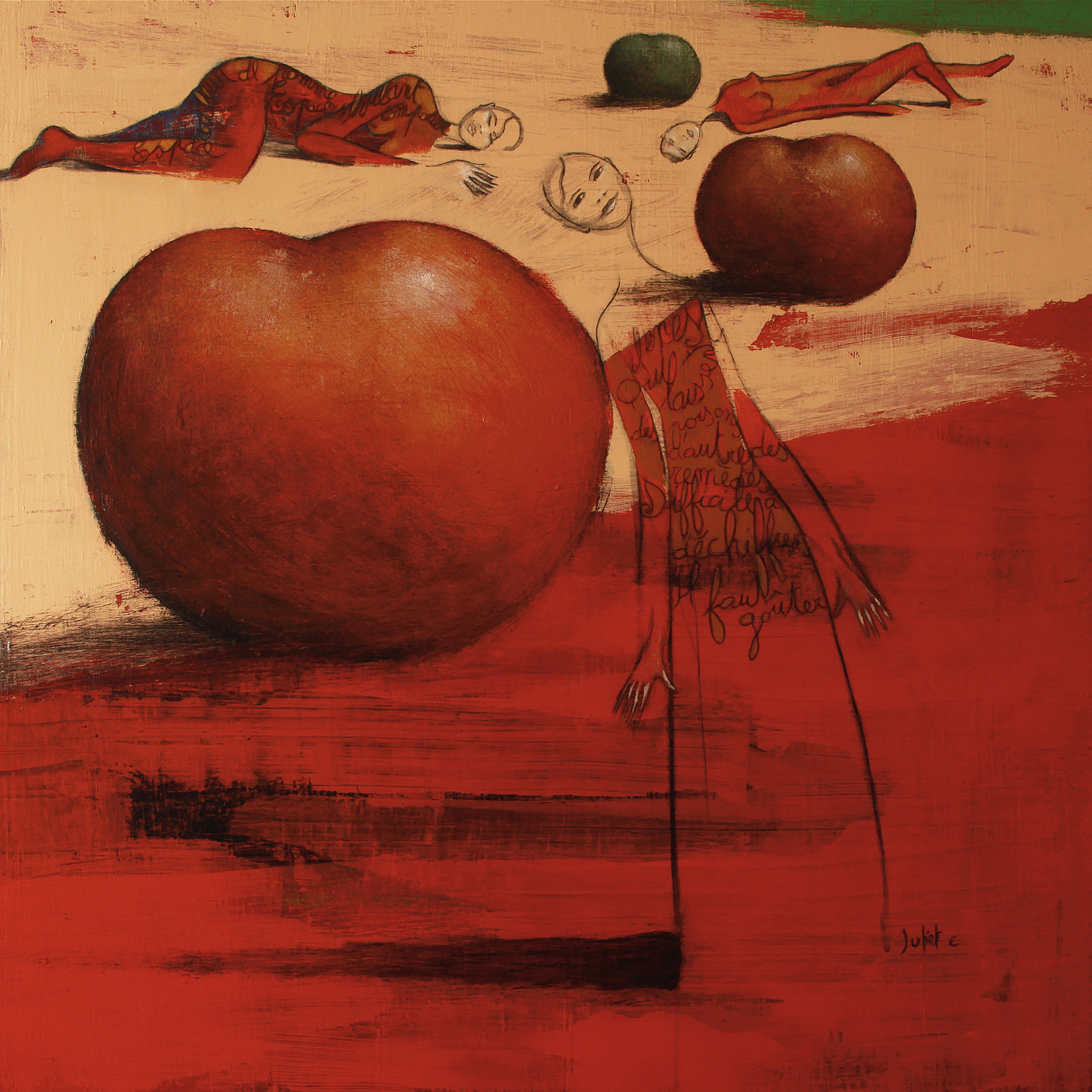 ... SUR RENÉ CHAR acrylique et crayon noir sur toile 100x100 cm