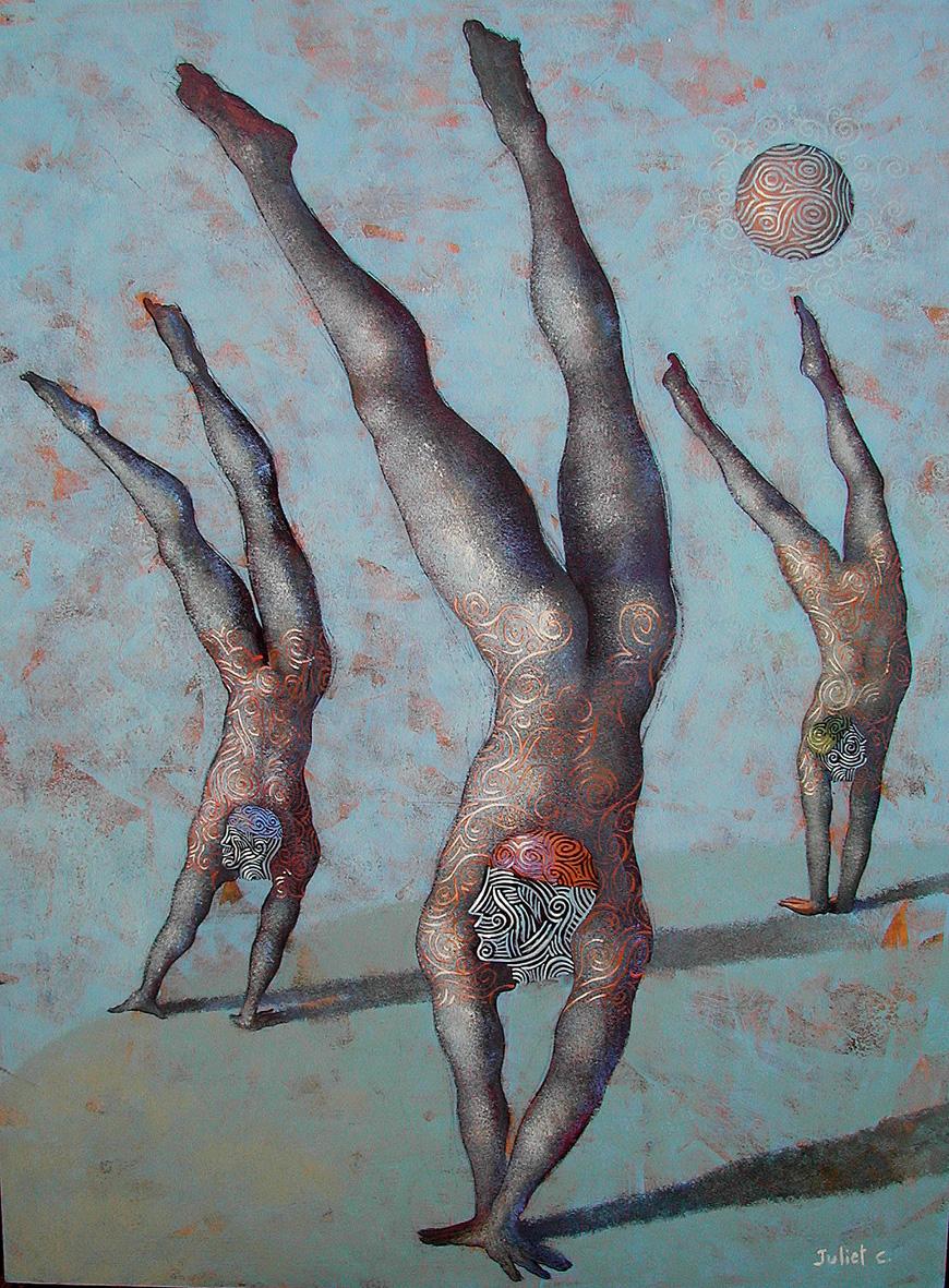 SUR LES MAINS /  Peinture sur bois